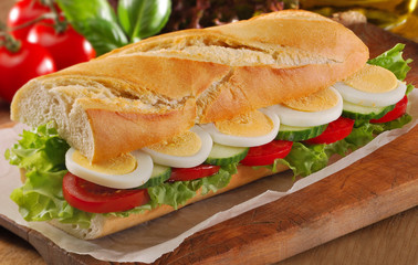 Egg salad sandwich French bread baguette