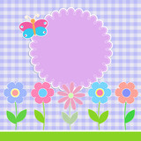 Round sticker with colorful flowers on checkered background