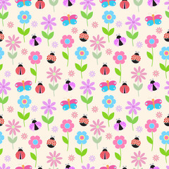 background with colorful flowers, butterflies and ladybug