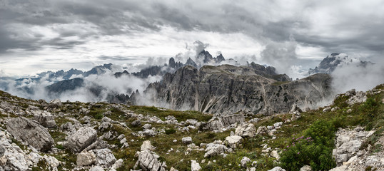 Dolomites landscape, high above the clouds, on top of the rocks