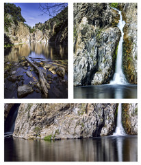 Collage landscape. Hervidero waterfall. Madrid. Spain