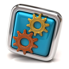 Gears on blue button