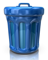Blue trash can icon