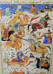 Mongol Arab Persian cavalry battle beautiful Persian miniature