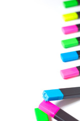 Multicolored highlighters Isolated on white background