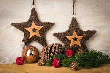 braune weihnachtssterne zur deko