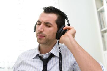 Businessman with headphone