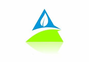 eco, leaf, mountain,pyramid, symbol, abstract, vector, logo