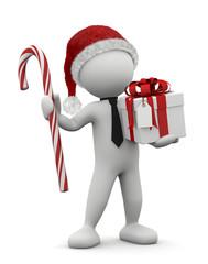 omino bianco Natale con pacco e bastoncino di zucchero
