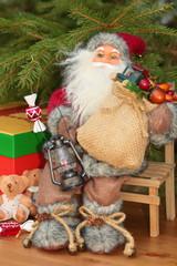Santa Claus on a chair.