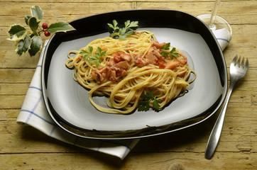 Spaghetti with bläckfisk Cucina italiana Food Expo Milano 2015