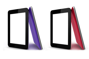 tablet screen front and colored back