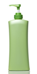 Green Pump Bottle on White background