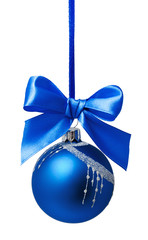 Blue christmas ball with ribbon isolated