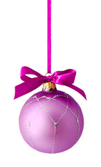 Hanging lilac christmas ball isolated