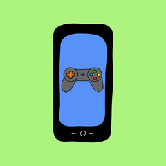 Doodle style phone with gamepad