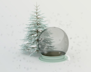 Winter Spruce Tree and an Snow Globe