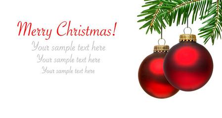 Weihnachtskarte mit Christbaumkugeln