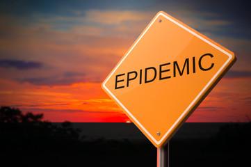 Epidemic Inscription on Warning Road Sign.