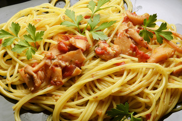 Spaghetti with calamar Cucina italiana Food Expo Milano 2015