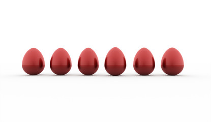 Red easter eggs concept rendered isolated on white