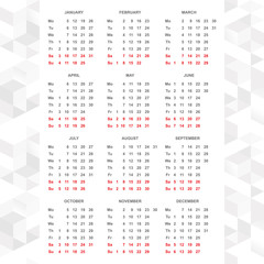 Simple 2015 calendar vector horizontal