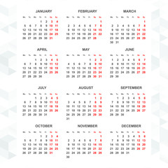 Simple 2015 calendar vector vertical