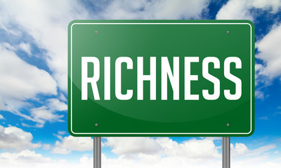 Richness on Green Highway Signpost.
