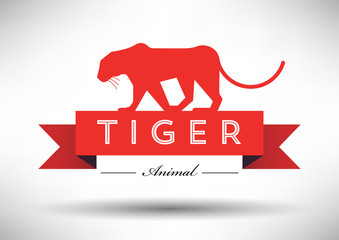 Tiger Icon with Typographic Design