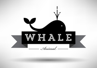 Whale Icon with Typographic Design