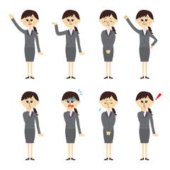 新入社員の女性 ポーズセット