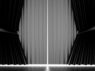 Black and white curtain stage cloth