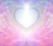 Rainbow heart border on delicate pink background