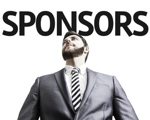 Business man with the text Sponsors in a concept image