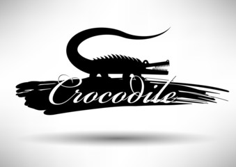 Crocodile Icon with Typographic Design