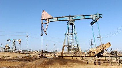 oil production in Azerbaijan in Baku oil tower