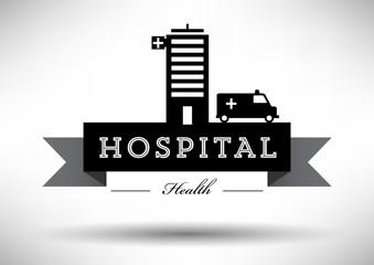 Hospital Icon with Typographic Design
