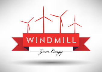 Windmill Icon with Typographic Design