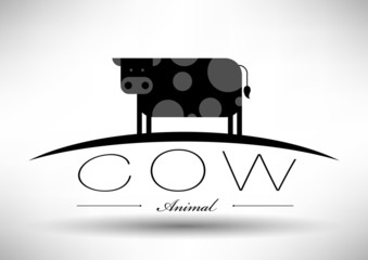Cow Icon with Typographic Design