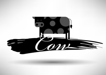 Cow Icon with Typographic Design