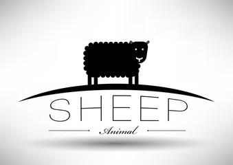 Sheep Icon with Typographic Design