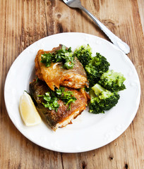Prepared Trout with Broccoli Garnish