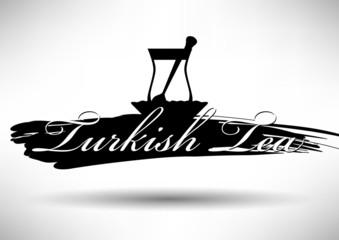 Turkish Tea Icon with Typographic Design