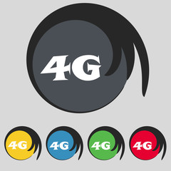 4G sign icon. Mobile telecommunications technology symbol.  Set