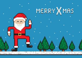 Christmas Funny Dancing Santa, pixel art style