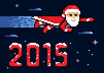 New Year 2015 Flying Superhero Santa In Space, pixel art style