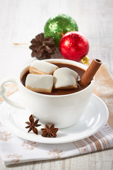 Hot chocolate with marshmallows and spices