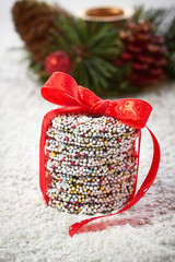 Christmas chocolate Sprinkle and red ribbon