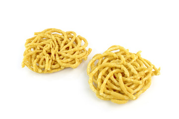 Crispy Noodles isolated on white background