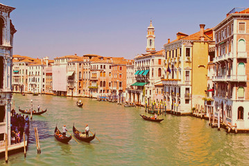 Wonderful view with gondolas on the Grand Canal in Venice, Italy